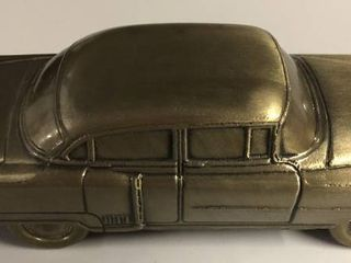 Vintage Bronze Banthirco Metal Coin Bank 1950 s Car