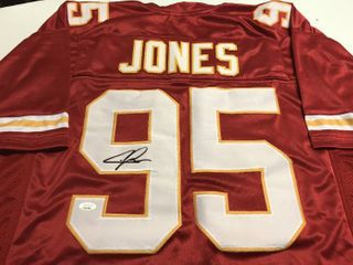 Signed Chris Jones Custom Kansas City Chiefs Red  95 Jersey With James Spence Witnessed Authentication