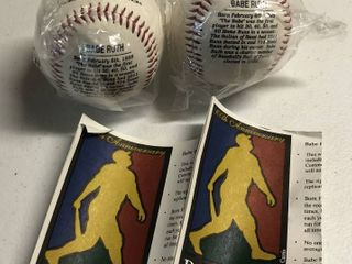 Collection of Two New in Package Babe Ruth 100th Anniversary Commemorative Baseballs With Paperwork