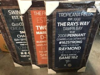 Three Stadium 16x32 Inch Team Signs   Tampa Bay Rays  Miami Marlins  Oakland A s   All with Major league Authenticated Field Dirt   Retail for  300