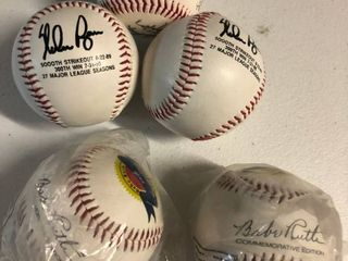 Collection of Five Commemorative Baseballs   Two Babe Ruth 100th Anniversary  Two Nolan Ryan  and Team Signed Kansas City Royals Replica Autographs