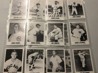 Collection of 1977 TCMA Baseball Cards including Mickey Mantle  Joe DiMaggio  and Ted Williams