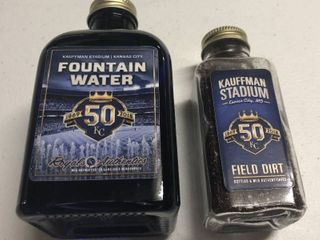 Kansas City Royals Fountain Water   Field Dirt in Glass Bottles   Major league Baseball Certified   Yes  Water   Dirt