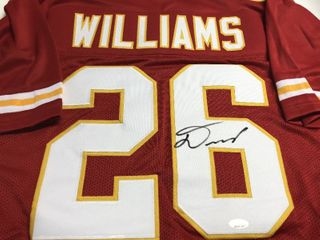 Signed Damien Williams Kansas City Chiefs  26 Red Jersey With James Spence Witnessed Authentication