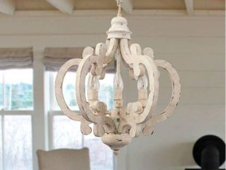 Cottage Chic Crown 6 light Farmhouse Wood Chandelier