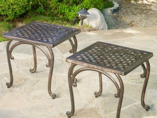 Mckinley Cast Outdoor End Table  Set of 2  by Christopher Knight Home Retail 198 49