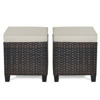Set of 2 Outdoor Patio Rattan Ottomans Cushioned Wicker Stools Retail 128 49