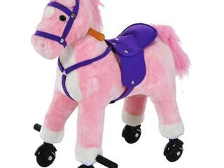Qaba Kids Interactive Plush Mechanical Walking Ride On Horse Toy with Wheels  Pink Retail 89 49