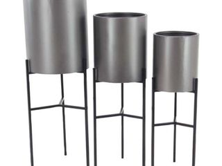 Set of 3 Modern Matte Gray Drum Planters with Stand by Studio 350 Retail 113 49