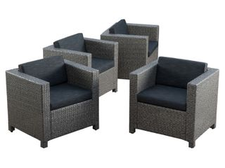 Puerta Outdoor Club Chairs with Water Resistant Cushions  Set of 4  by Christopher Knight Home Retail 776 99