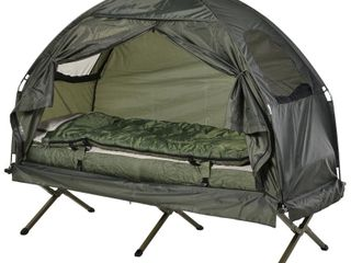 Outsunny Pop Up Tent Cot with Air Mattress and Sleeping Bag Combo Retail 139 97