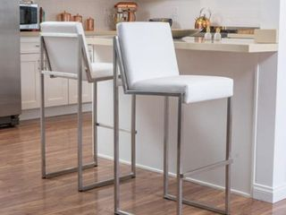 Vasilus 30 inch Bonded leather Barstool by Christopher Knight Home  Set of 2  Retail 293 99