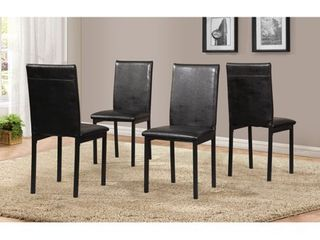 Roundhill Noyes Faux leather Seat Metal Frame Black Dining Chairs  Set of 4
