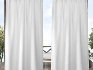 ATI Home Indoor Outdoor Solid Cabana Grommet Top Curtain Panel Pair   Set of 2