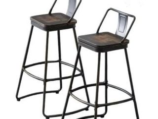 Andeworld Distressed Metal Industrial Counter Height Stools   Set of 2