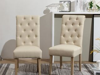 Copper Grove Schwalbach Wood Tufted Parsons Dining Chairs   Set of 2