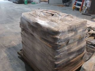 mixed pallet of mortar  self leveling underlayment  and grout
