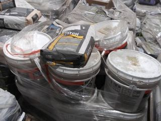 mixed pallet of mastic  surface prep patch  grout  and latex mortar additive