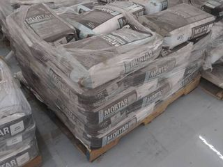 pallet of fast setting mortar gray