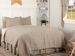 Dark Creme White Farmhouse Bedding Miller Farm Ticking Stripe Cotton Pre Washed Striped Queen Quilt Set  Quilt  Sham