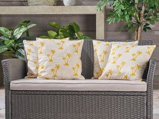 Palm Trees Outdoor 18  Water Resistant Square Pillows  Set of 2  by Christopher Knight Home