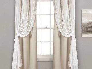 lush Decor Grommet Sheer Panels with Insulated Blackout lining Wheat Set 38x108