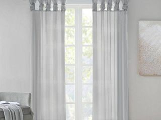 Madison Park Elowen White Twist Tab Voile Sheer Curtain Panel Pair 50W X 84 l light Grey