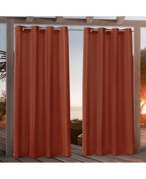 84 x54  Canvas Grommet Top light Filtering Window Curtain Panels Orange   Nicole Miller