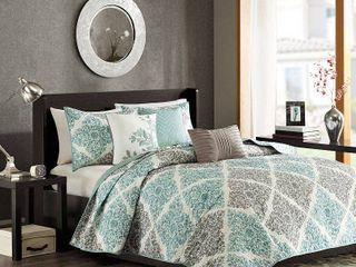 Madison Park Montecito 6 Piece Quilted Coverlet Set  Retail 93 16