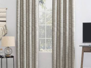 84 x52  Rhett Woven Strie Theater Grade Extreme Total Blackout Grommet Top Curtain Panel Cream Gray   Sun Zero