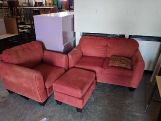 Red love seat and arm chair with ottoman