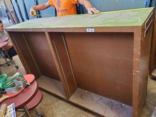 large wooden double sided bookshelf on wheels 72 l x 21 W x 47T