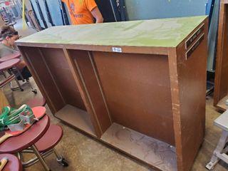 large wooden double sided bookshelf on wheels 72 l x 21 W x 47 T
