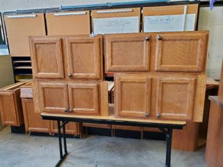 lot of 4 Wooden Upper Kitchen Cabinets