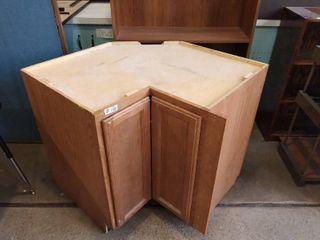 Under wooden corner counter cabinet