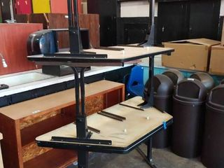lot of three Trapezoid Tables