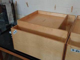 Square wooden craft cubbies on wheels 23 l x 23 D x 14 T
