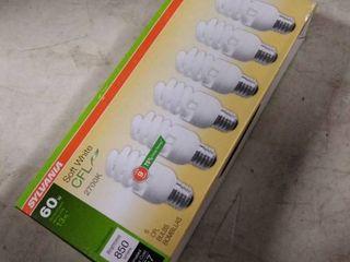 SYlVANIA 6 Pack 60 W Equivalent Soft White A19 CFl light Fixture light Bulbs