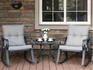 Cosiest Outdoor 3 piece Bistro Set with Rocking Chairs