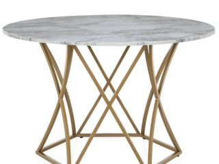 Elle Round Dining Table Gold   Cosmoliving by Cosmopolitan   Retail  340