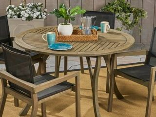 lockett Outdoor Round Dining Table by Christopher Knight