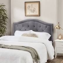 Abbyson Hillsdale Tufted Nailhead Trim Grey Velvet Headboard  Retail 335 99
