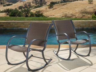 ONE CHAIR Gracie s Outdoor Wicker Rocking Chair by Christopher Knight Home  Retail 183 49