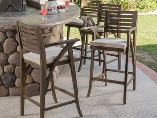 Hermosa Acacia Wood Cushioned Bar Stool  Set of 2  by Christopher Knight Home  Retail 371 99