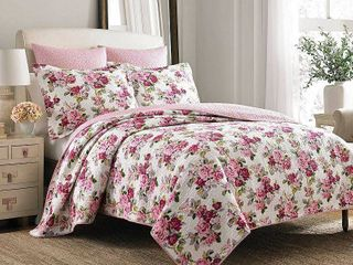 laura Ashley lidia Cotton 3 piece Reversible Quilt Set  Retail 114 98