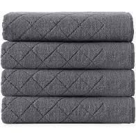 12pc Anthracite gray Enchante House Towel set with Popular Bath Hotel Fabric 12 Grommets Shower Curtain Or liner  Charcoal  70x72