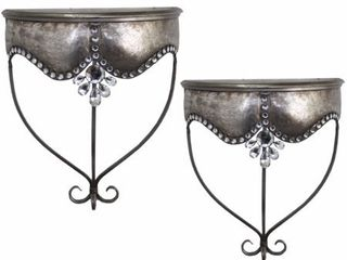 Set Of 2 Enticing Metal Wall Shelf  Silver  Retail 111 99