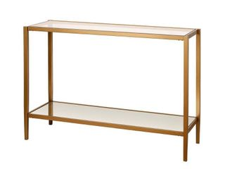 Riley Mirrored Console Table in Antique Brass
