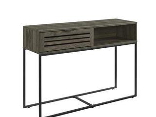 42  Modern Slat Door Entry Table   Slate Grey