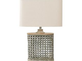 Deondra Farmhouse Gray Galvanized Metal Table lamp   19  W x 11 25  D x 28 75  H  Retail 114 49